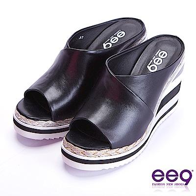 ee9 青春熱力百搭露趾楔形拖鞋 黑色