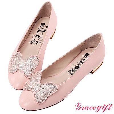 Disney collection by grace gift立體飾片平底娃娃鞋 粉
