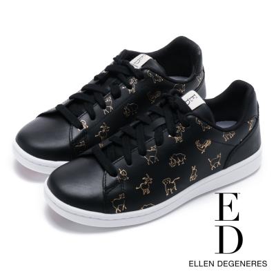 ED Ellen DeGeneres 俏皮燙金動物印花休閒鞋-黑色