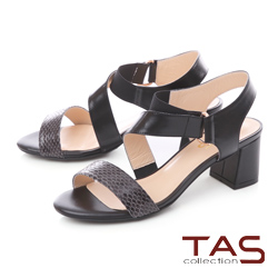 TAS 曲線繫帶蛇紋拼接粗跟涼鞋-時尚黑