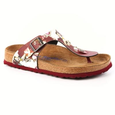 勃肯Papillio  1000607 。GIZEH吉薩 夾腳拖鞋(酒紅印花)