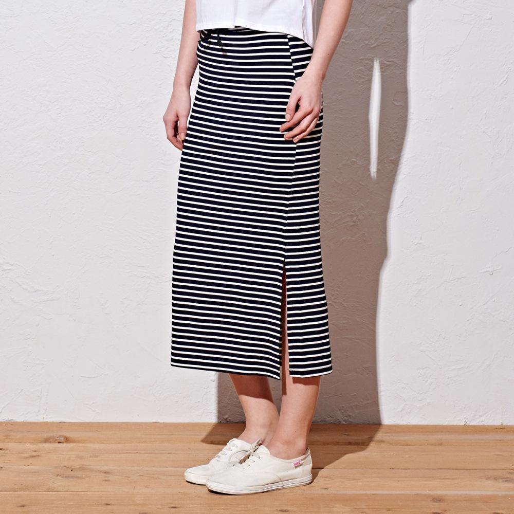窄裙 條紋長窄裙(2色)-CACO