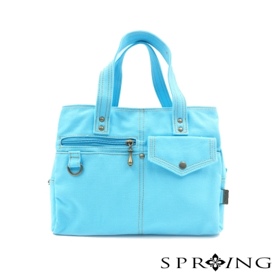 SPRING-MIT簡約風格 帆布包 -三層手提包-天空藍