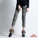 BRAPPERS 女款 BoyFirend系列-女用低腰3D八分反摺褲-雪花黑