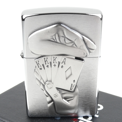 ZIPPO 美系~美系~Full House-撲克牌葫蘆圖案立體貼飾打火機