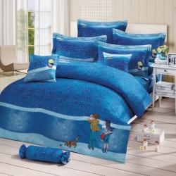 繪見幾米-星空 女孩枕套 單人兩用被床包組