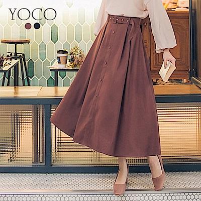 東京著衣-yoco 冬氛輕甜前排釦打褶長裙-S.M.L(共二色)