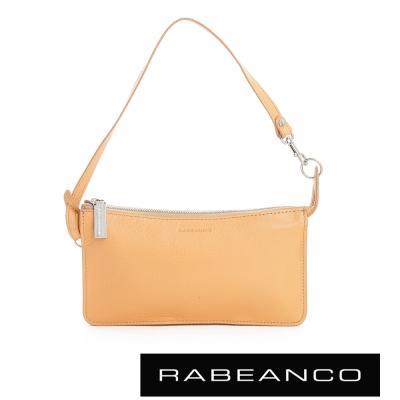 RABEANCO 頂級牛皮多層手拿包長夾 - 淡香橙