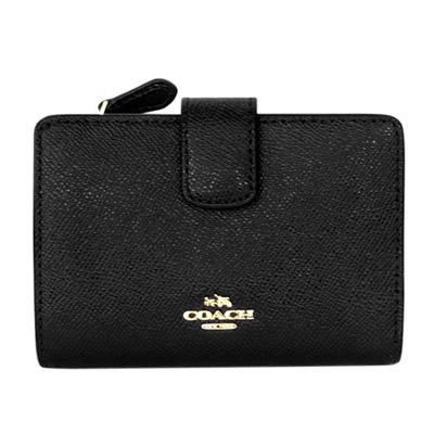 COACH黑色壓紋全皮金字飾牌拉鍊袋中夾