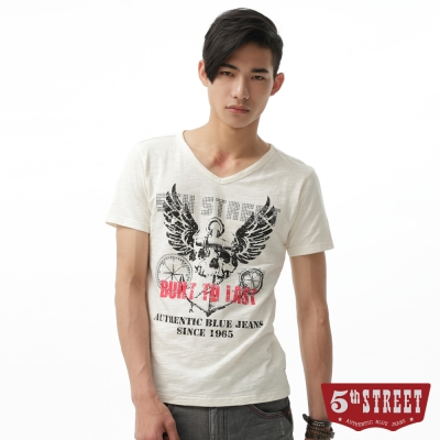 5th STREET T恤 骷髏海錨印刷V領T恤-男-米白