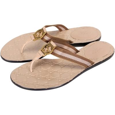 GUCCI Guccissima牛皮壓紋夾腳拖鞋(粉耦色)