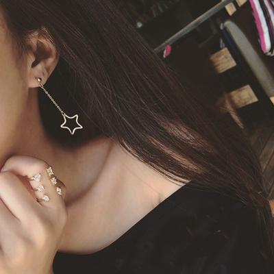 梨花HaNA-無耳洞高端流行金屬流線不對襯耳環夾式