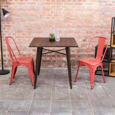 Boden-亞歷仿舊復刻工業風餐桌椅(一桌二椅)(四色)-80x80x78cm