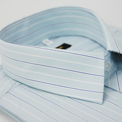 金‧安德森 淺藍底寬紋藍白條紋長袖襯衫