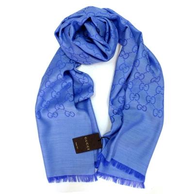 GUCCI 經典大G緹花羊毛混絲流蘇圍巾(藍色/180X45cm)