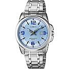 CASIO 簡約經典時尚指針日曆腕錶(LTP-1314D-2A)淺藍面/33mm