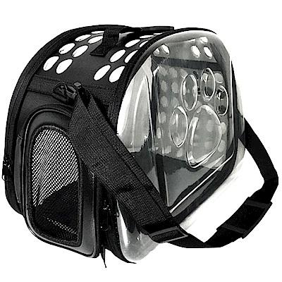 毛小孩 可肩背膠囊寵物手提包-透明黑色