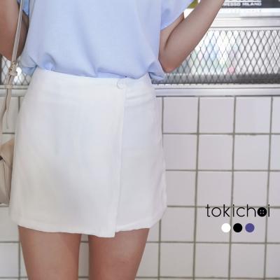 東京著衣 鈕釦裝飾拼接短褲-XS.S.M.L(共三色)