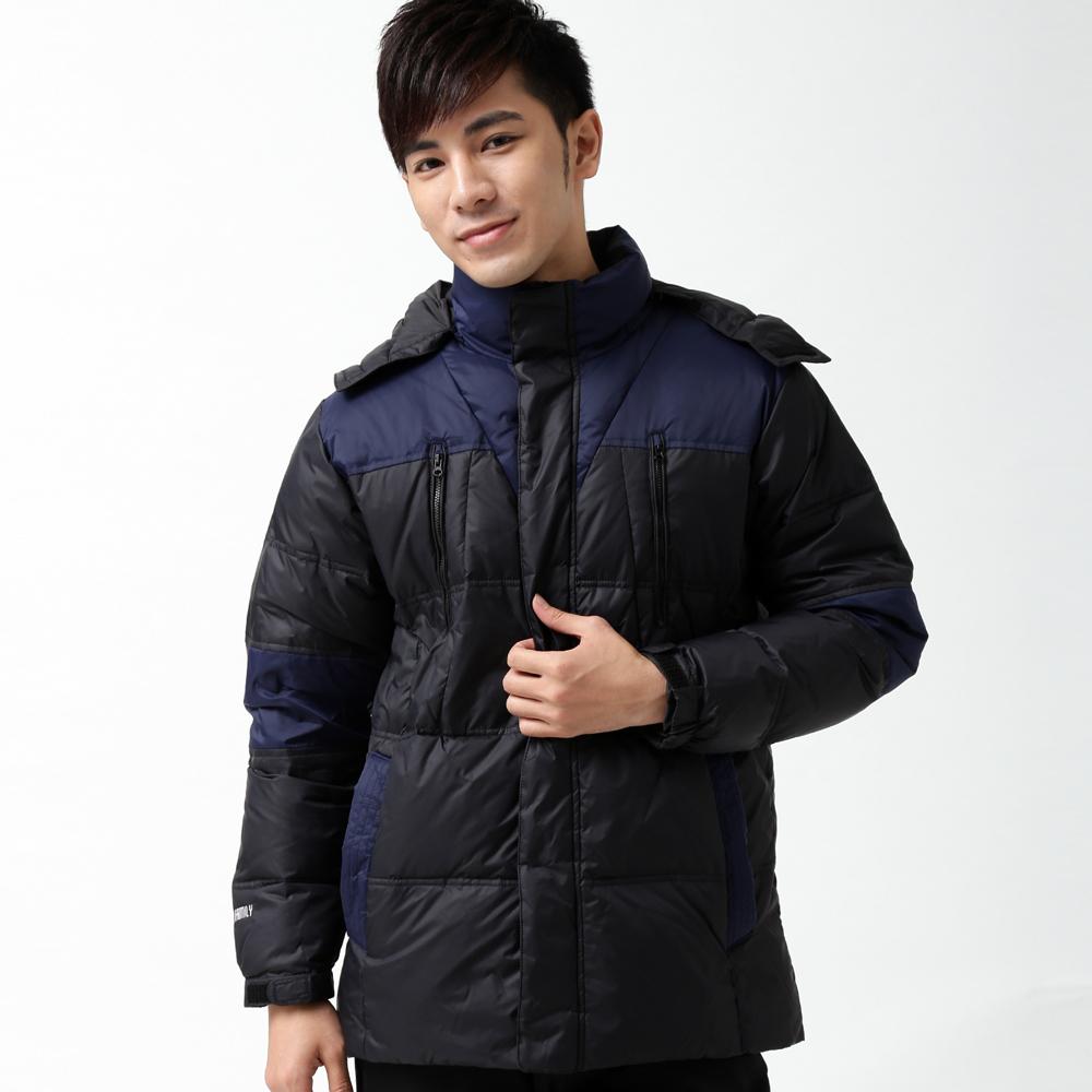 遊遍天下禦寒極暖JIS90羽絨拼接修身中長版羽絨外套K002黑