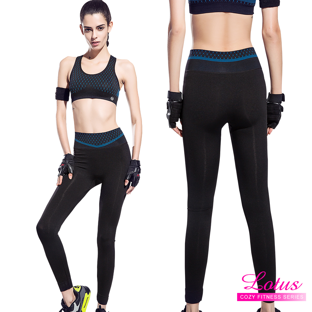 運動褲 點點織紋彈力包腹瑜珈運動褲-活力藍 LOTUS(速)
