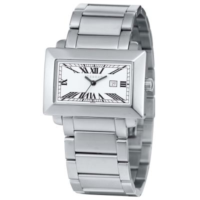 ICEBERG 經典方型羅馬刻度不鏽鋼帶錶-白/38mm