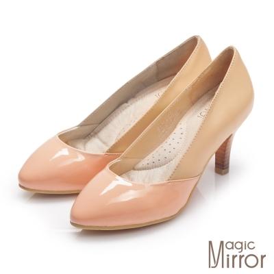 Magic-mirror-簡單俐落-微甜氣息雙皮革拼接跟鞋-甜粉橘