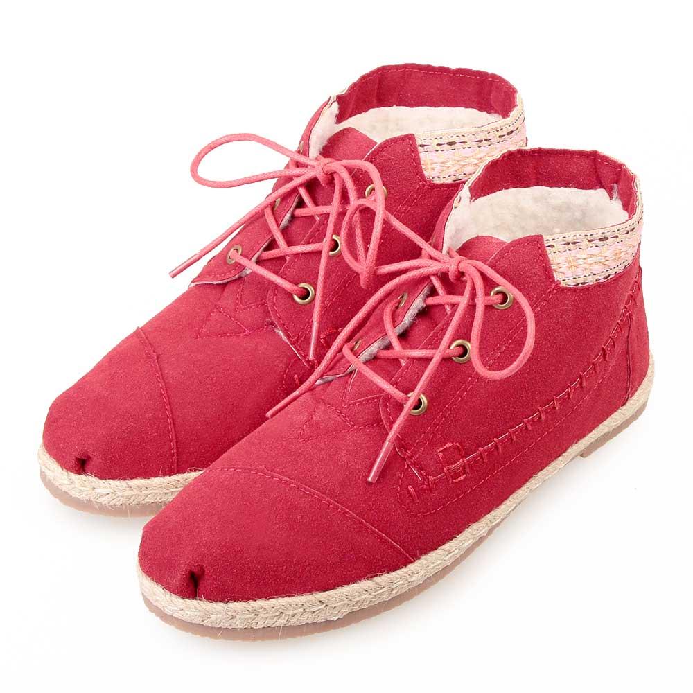 TTSNAP雪靴-圖騰織帶部落麂皮短靴 紅