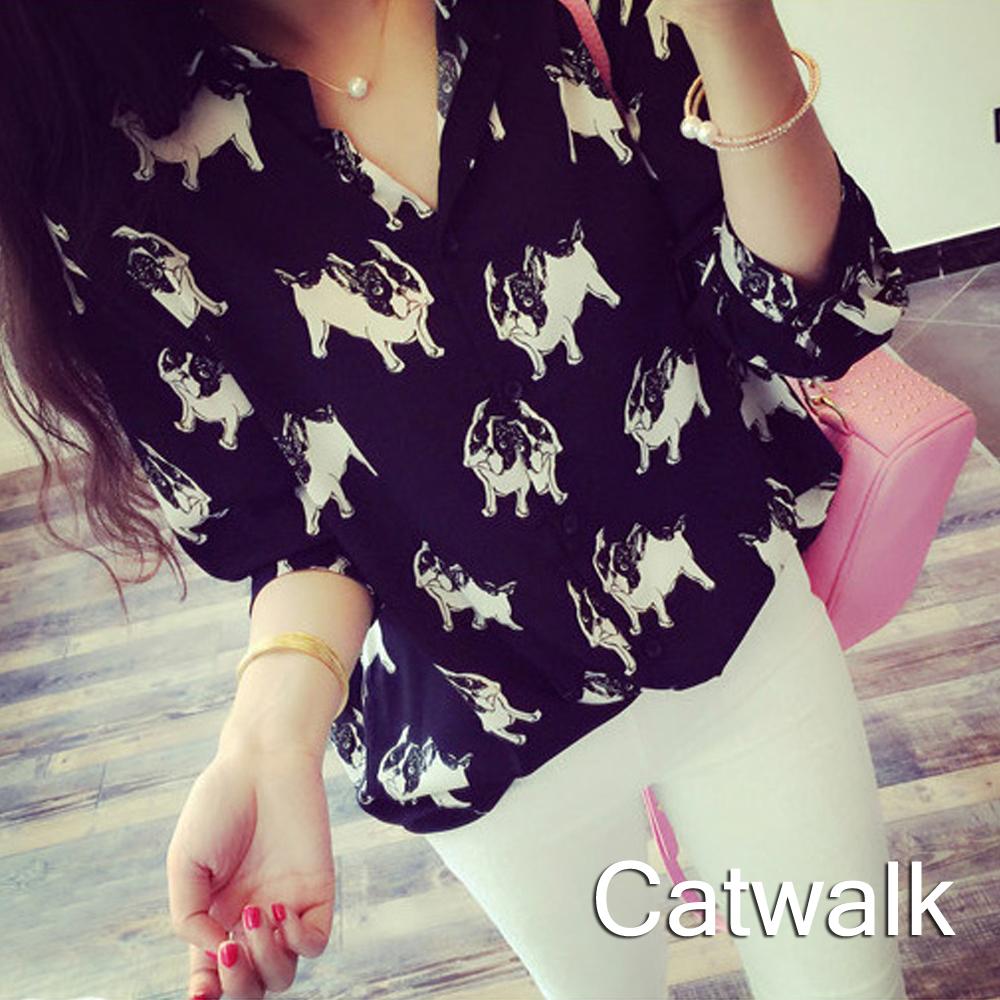 襯衫 滿版狗狗圖案雪紡襯衫(黑)-Catwalk