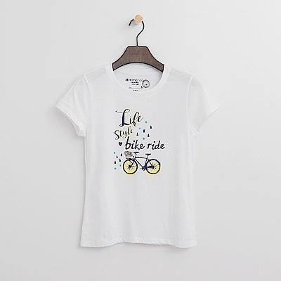 Hang Ten - 女裝 - 有機棉 單車遊記T恤-白色