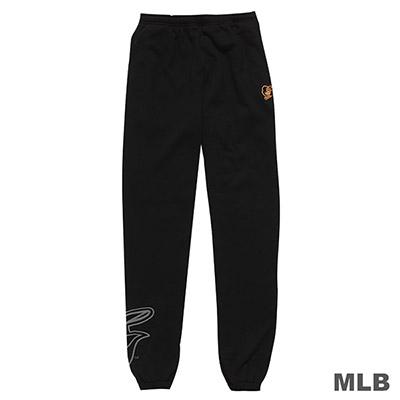MLB-巴爾的摩金鶯隊縮口植絨印花厚長褲-黑(男)