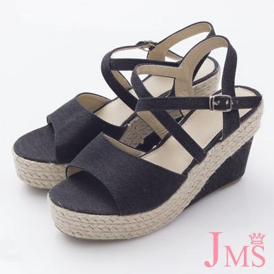 JMS-日雜款百搭素面交差環裸楔型涼鞋-黑色