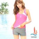 SANQI三奇 柔美流線 二件式運動泳衣(粉M~XL)