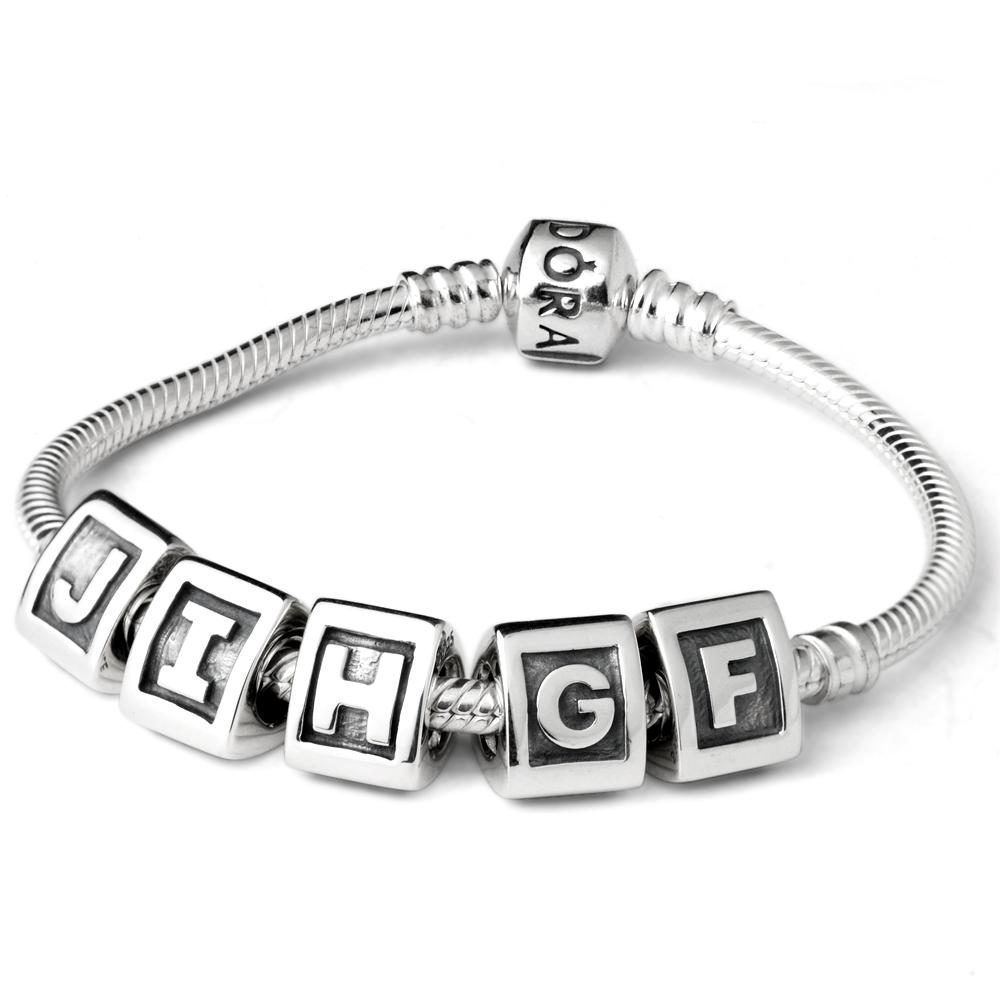 Pandora潘朵拉刻字字母純銀墜F-J