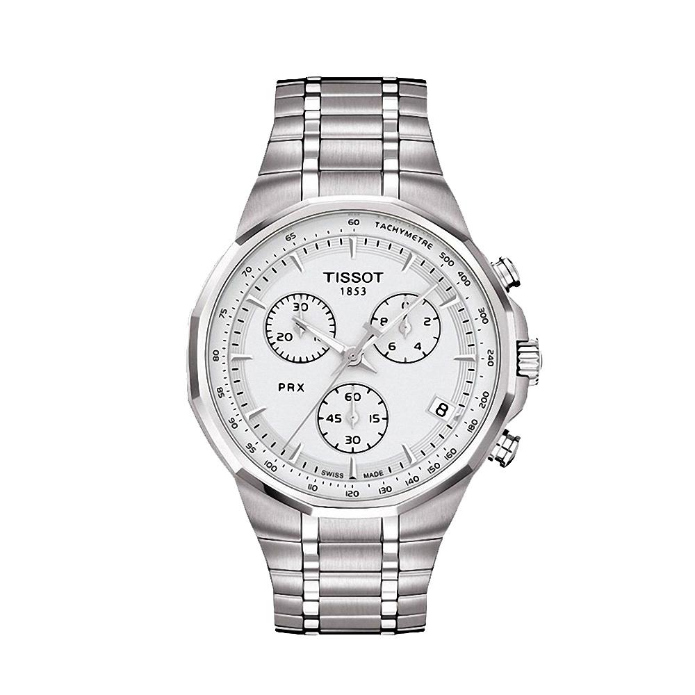 TISSOT PRX Classic 三眼計時石英腕錶-銀/40mm