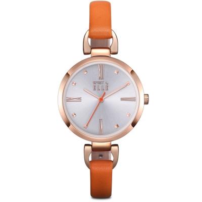 ELLE 小清新羅馬時標皮革腕錶-橘色/玫瑰金-32mm