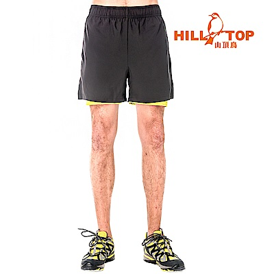 【hilltop山頂鳥】男款抗UV超潑水短褲S09M68-瑪瑙黑