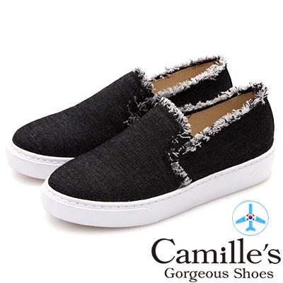 Camille's 韓國空運-抽鬚毛邊丹寧厚底懶人鞋-黑色