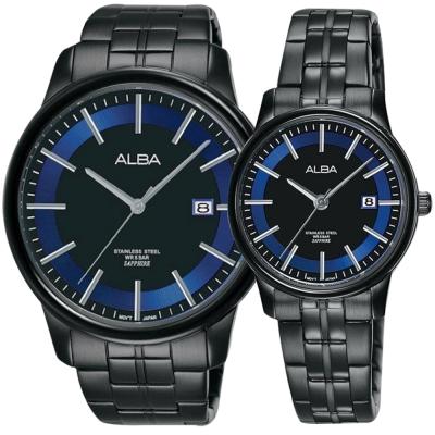 ALBA雅柏 日系時尚對錶(AS9D87X1+AH7N62X1)-鍍黑/42+28mm