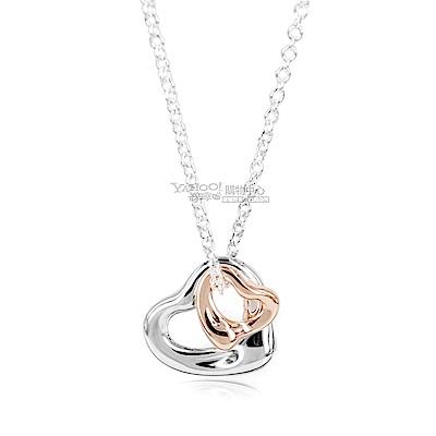 Tiffany&Co. Open Heart系列 925純銀+18K玫瑰金雙心墜飾項鍊