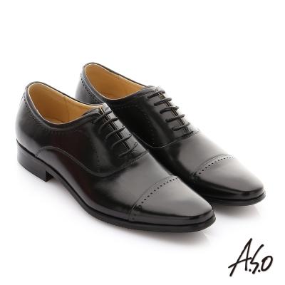 A.S.O 超輕雙核心 苯染打蠟水胎牛皮奈米紳士鞋 黑色