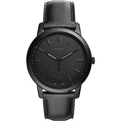 FOSSIL Minimalist 薄型簡約小秒針手錶(FS5447)-黑色/44mm