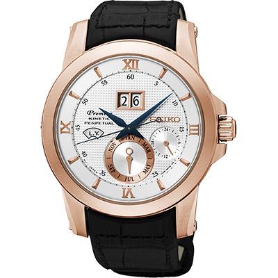 SEIKO Kinetic 萬年曆大視窗腕錶(SNP138J1)-銀x玫瑰金框/41mm