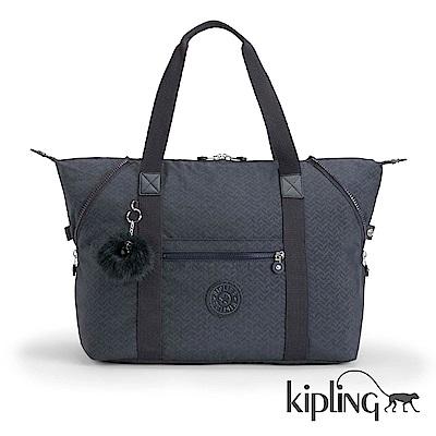Kipling 手提旅行包 深藍圖騰素面-大