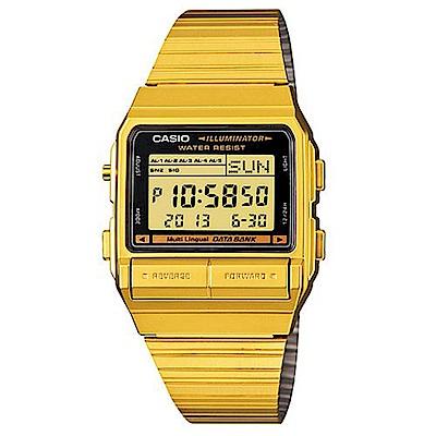 CASIO DATABANK 電話記錄經典商務數位錶(DB-380G-1)-金色版/33m