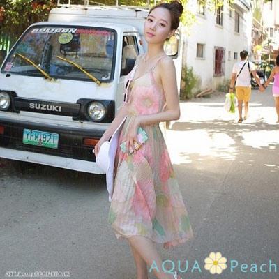 花朵圖紋細褶裙擺細肩帶洋裝 (花色)-AQUA Peach