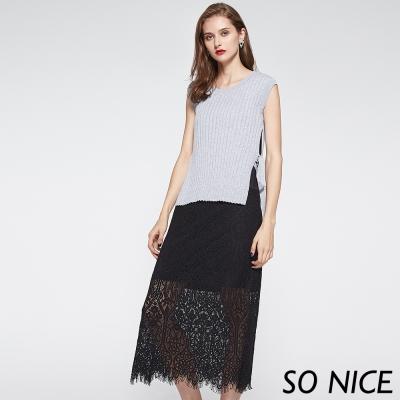SO NICE浪漫蕾絲針織兩件式洋裝