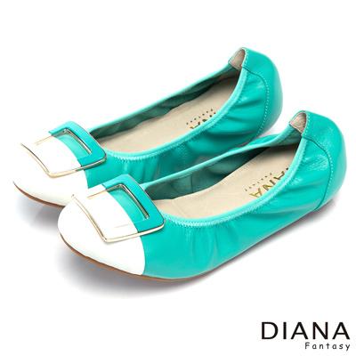 DIANA-超軟Q-俏麗撞色鬆緊帶真皮娃娃鞋-綠