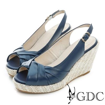 GDC-綿羊皮草編真皮楔型厚底魚口高跟鞋-藍色