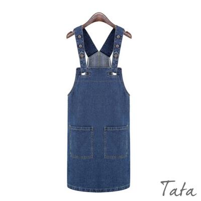 牛仔吊帶洋裝-TATA