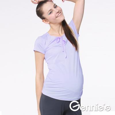 Gennie's奇妮-蝴蝶結綁帶舒爽涼感紗春夏孕婦上衣 (G3704)-紫